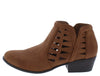 Gary55 Tan Laser Cut Stacked Heel Ankle Boot - Wholesale Fashion Shoes