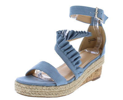 Caleb283 Light Blue Open Toe Ruffle Cross Strap Braided Wedge - Wholesale Fashion Shoes