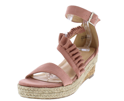 Caleb283 Mauve Open Toe Ruffle Cross Strap Braided Wedge - Wholesale Fashion Shoes