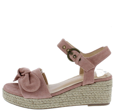 Wendie087 Mauve Tied Open Toe Ankle Strap Espadrille Wedge - Wholesale Fashion Shoes