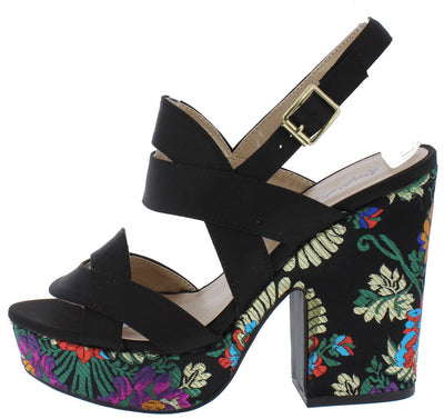 Gavin11 Black Floral Embroidered Chunky Platform Heel - Wholesale Fashion Shoes