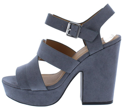 Gavin13 Steel Grey Suede Pu Strappy Chunky Platform Heel - Wholesale Fashion Shoes