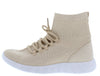 Anna247 Nude Perforated Knit Lace Up Sneaker Flat - Wholesale Fashion Shoes