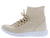 Anna247 Nude Perforated Knit Lace Up Sneaker Flat
