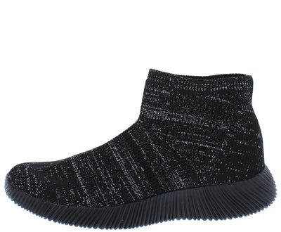 Maya146 Black Ribbed Stretch Knit Sneaker Flat - Wholesale Fashion Shoes