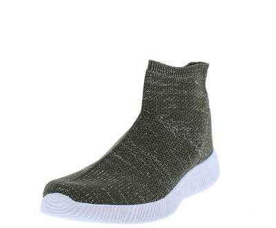 Maya146 Olive Ribbed Stretch Knit Sneaker Flat - Wholesale Fashion Shoes