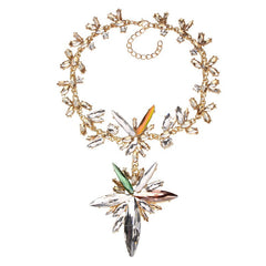GORGEOUS GEM CRYSTAL CHAMPAGNE STARBURST CHOKER PENDANT STATEMENT NECKLACE - Wholesale Fashion Shoes - 2