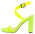 Gen Lime Lucite Open Toe Cross Ankle Wrap Block Heel