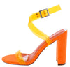Gen Orange Lucite Open Toe Cross Ankle Wrap Block Heel - Wholesale Fashion Shoes