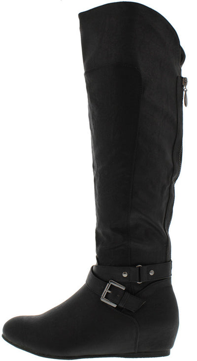 Genesa01 Black Knee High Wedge Riding Boot - Wholesale Fashion Shoes