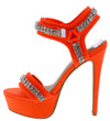 Genius Neon Orange Rhinestone Open Toe Cut Ankle Strap Heel - Wholesale Fashion Shoes