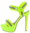 Genius Neon Yellow Rhinestone Open Toe Cut Ankle Strap Heel - Wholesale Fashion Shoes