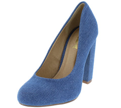 GEO01 DENIM ALMOND TOE SLIP ON CHUNKY HEEL - Wholesale Fashion Shoes