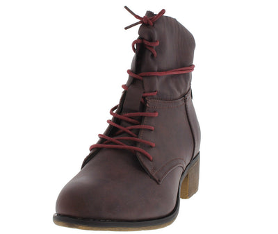Georgia11 Wine Lace up Chunky Heel Ankle Boot - Wholesale Fashion Shoes