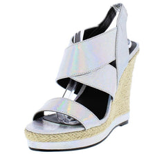LAYLA209 SILVER WOMEN'S WEDGE - Wholesale Fashion Shoes