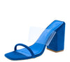 Get Away Blue Open Toe Lucite Strap Mule Block Heel - Wholesale Fashion Shoes