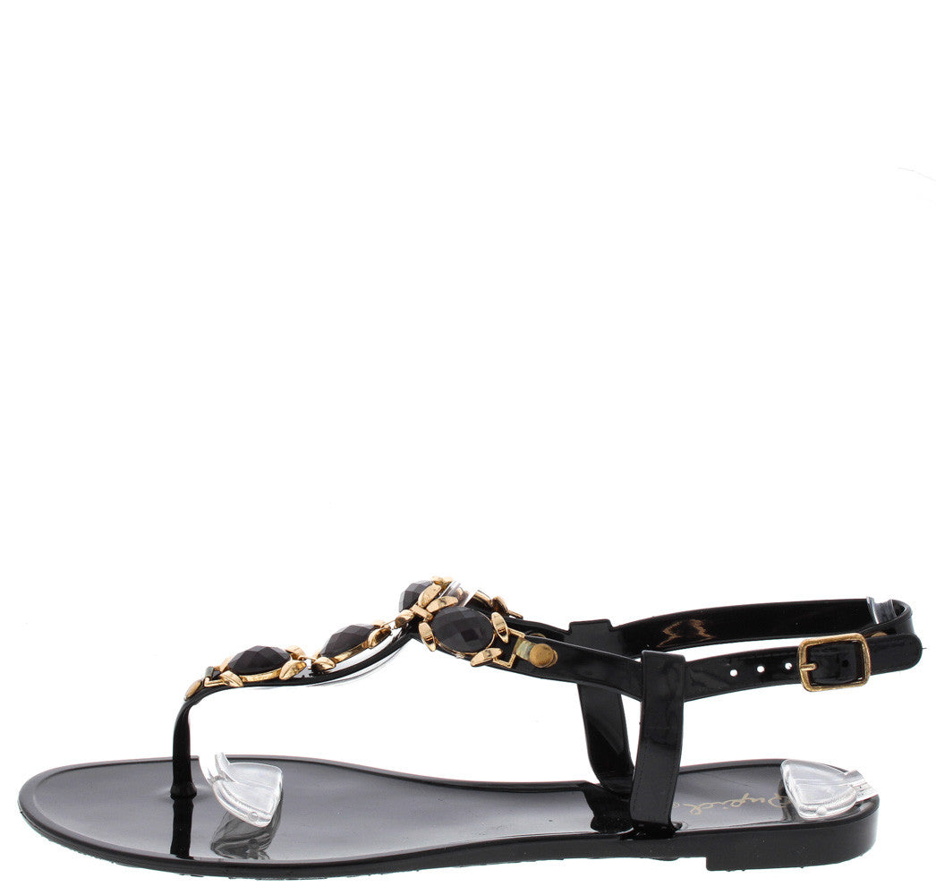 020b187addc Getty06b Black Gemstone Thong Jelly Sandals Only  10.88 - Wholesale ...