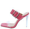 Ruby171 Coral Buckle Strap Open Toe Lucite Stiletto Heel - Wholesale Fashion Shoes