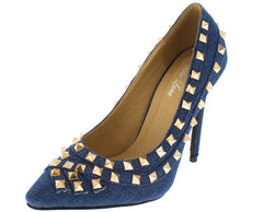 GIANNA DENIM STUDDED POINTED TOE HEEL - Wholesale Fashion Shoes