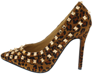 7cc94b971885 Gianna Leopard Studded Pointed Toe Heel - Wholesale Fashion Shoes