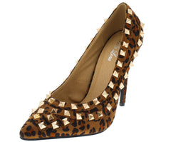 GIANNA LEOPARD STUDDED POINTED TOE HEEL - Wholesale Fashion Shoes