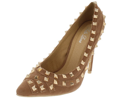 Gianna Taupe Studded Pointed Toe Heel - Wholesale Fashion Shoes