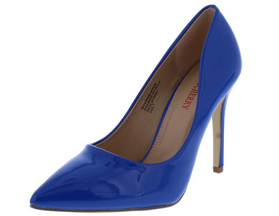 Gigi01 Blue Faux Patent Pointed Toe Heel - Wholesale Fashion Shoes