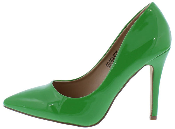 5daf44c7c4a Gigi01 Green Faux Patent Pointed Toe Heel