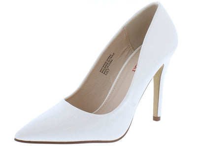 Gigi01 White Faux Patent Pointed Toe  Heel - Wholesale Fashion Shoes