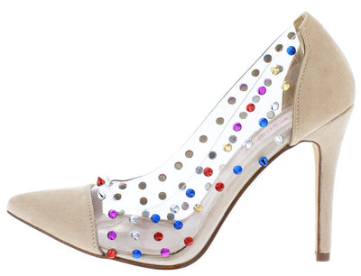 Gigi09 Nude Open Toe Multi Color Stud Lucite Stiletto Heel - Wholesale Fashion Shoes