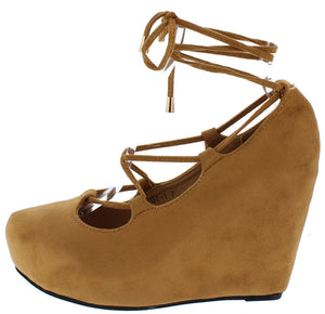 9439b3379 Gigi01 Camel Suede Round Toe Wrap Platform Wedge - Wholesale Fashion Shoes