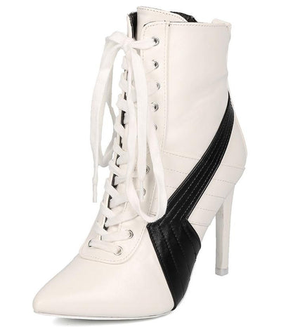 Gigi1 White Color Block Pop Pointed Toe Stiletto Boot - Wholesale Fashion Shoes