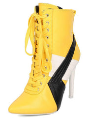 GIGI1 YELLOW COLOR BLOCK POP POINTED TOE STILETTO BOOT - Wholesale Fashion Shoes