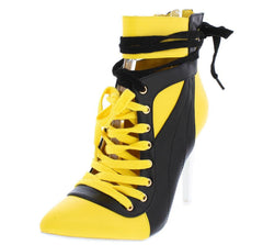 GIGI2 YELLOW TWO TONE POP LACE UP STILETTO BOOT - Wholesale Fashion Shoes