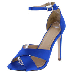 MACKENZIE169 ROYAL BLUE SATIN CROSS STRAP OPEN TOE ANKLE STRAP HEEL - Wholesale Fashion Shoes