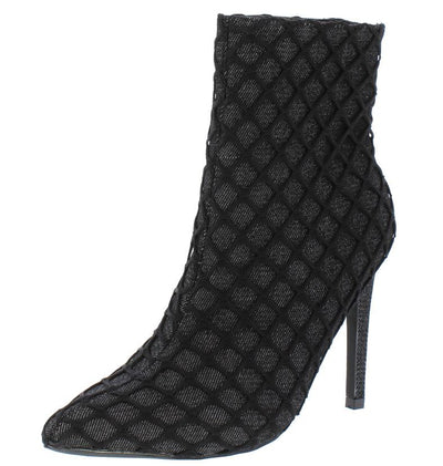 Gigi38 Black Lined Fishnet Low Calf Stiletto Boot - Wholesale Fashion Shoes