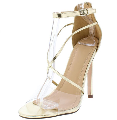 Law101 Gold Clear Crossing Strap Stiletto Heel - Wholesale Fashion Shoes