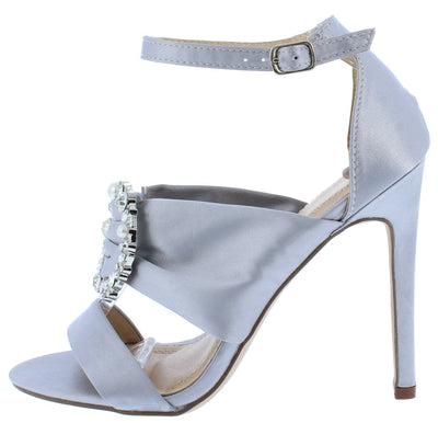 Eva167 Silver Satin Rhinestone Pearl Brooch Open Toe Heel - Wholesale Fashion Shoes