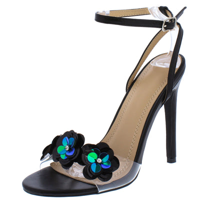 Jayden274 Black Sequin Floral Lucite Open Toe Stiletto Heel - Wholesale Fashion Shoes