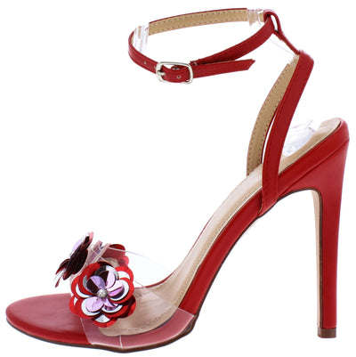 Jayden274 Red Sequin Floral Lucite Open Toe Stiletto Heel - Wholesale Fashion Shoes