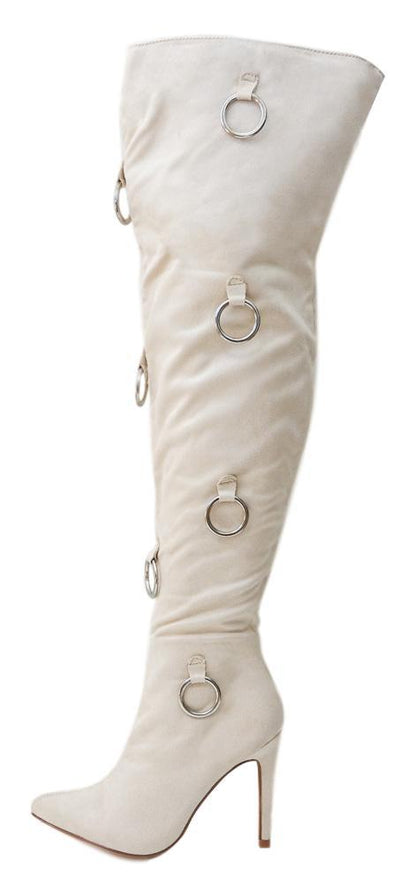 Gigi68 Nude Ring Detail Over The Knee Stiletto Boot - Wholesale Fashion Shoes