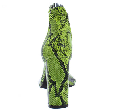 Gills Green Boa Lucite Open Toe Ankle Strap Block Heel - Wholesale Fashion Shoes