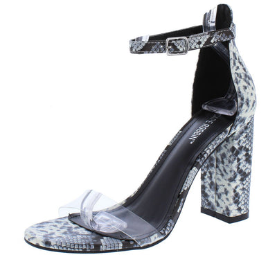 Gills Reflective Boa Lucite Open Toe Ankle Strap Block Heel - Wholesale Fashion Shoes