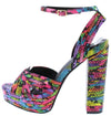 Eliza147 Rainbow Snake Peep Toe Slingback Ankle Strap Platform Heel - Wholesale Fashion Shoes