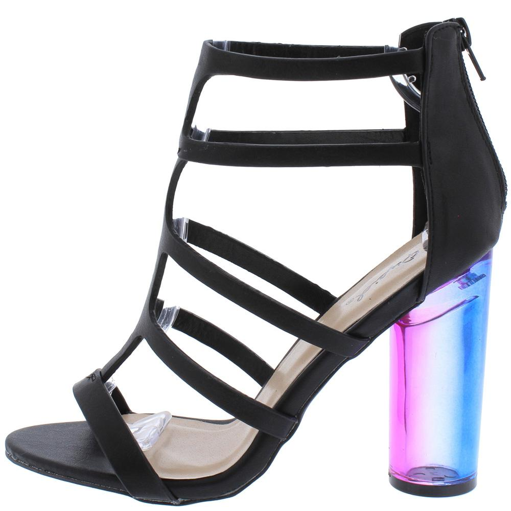 Gilmore14 Black Caged T Strap Color Block Lucite Heel - Wholesale Fashion  Shoes