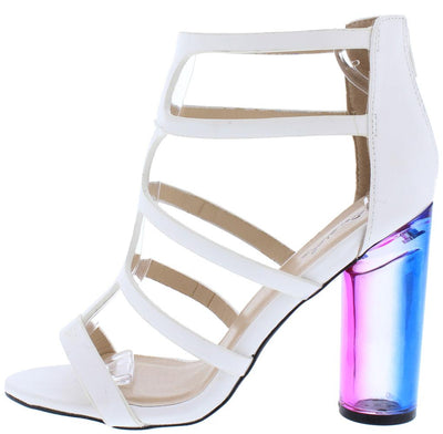 Gilmore14 White Caged T Strap Color Block Lucite Heel - Wholesale Fashion Shoes