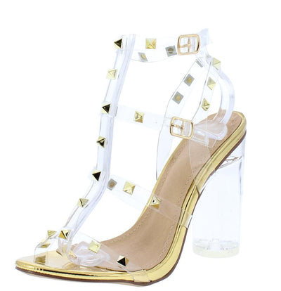 Abby185 Gold Lucite Studded Caged Open Toe Block Heel - Wholesale Fashion Shoes