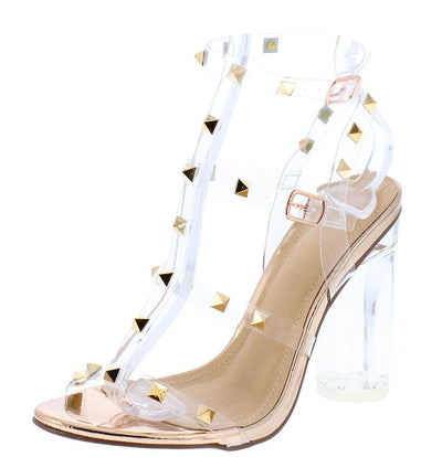 Abby185 Rose Gold Lucite Studded Caged Open Toe Block Heel - Wholesale Fashion Shoes
