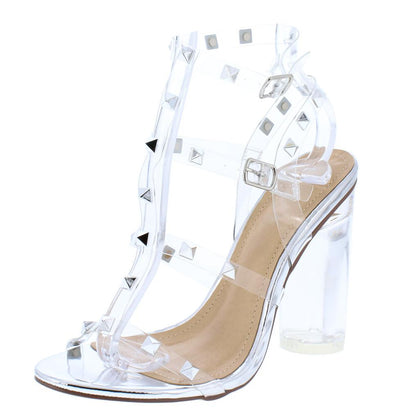 Abby185 Silver Lucite Studded Caged Open Toe Block Heel - Wholesale Fashion Shoes