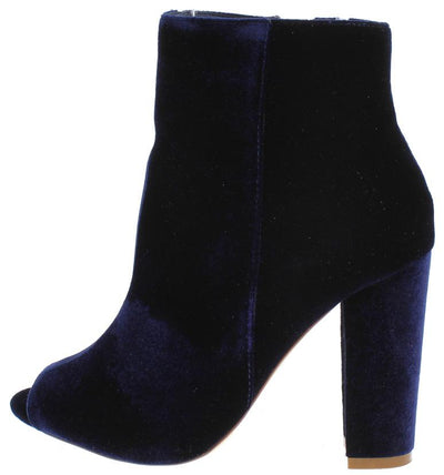 Gina Blue Velvet Peep Toe Slanted Heel Ankle Boot - Wholesale Fashion Shoes